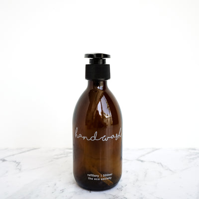Amber Glass Bottle Pump 300ml Handwash