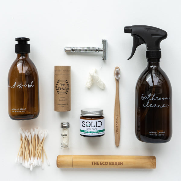 Low waste kit Plastic free NZ bathroom personal care safety razor amber spray bottle Bamboo toothbrush