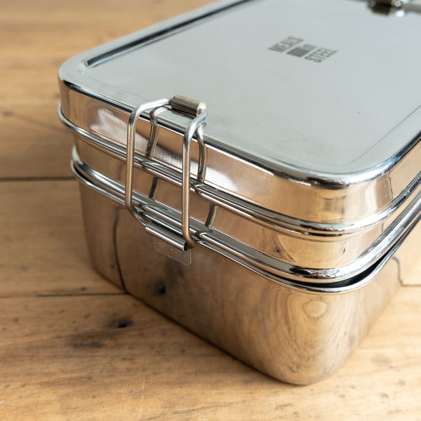 Stainless Steel Large Double Layer Container Meals in Steel New Zealand The Eco Society