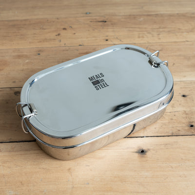 Stainless Steel Oval Lunchbox with Snack Box