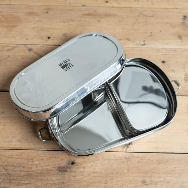 Stainless Steel Oval Container with snack box Meals in Steel New Zealand The Eco Society