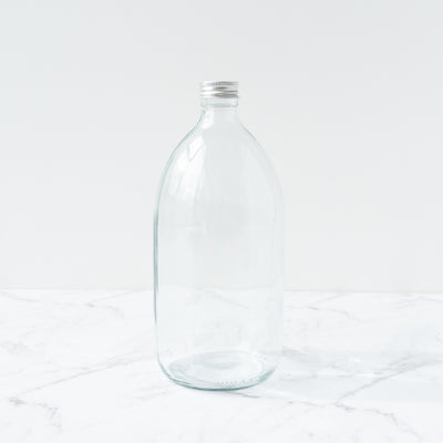 Clear Glass Bottle Metal Cap - 1L Plain