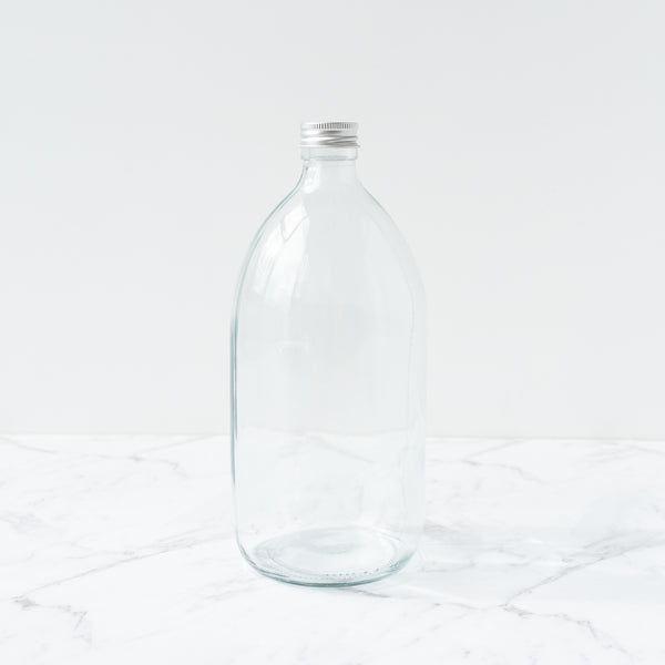 Clear Glass Bottle 1L 1000ml Metal Cap Refill Dispensary New Zealand The Eco Society