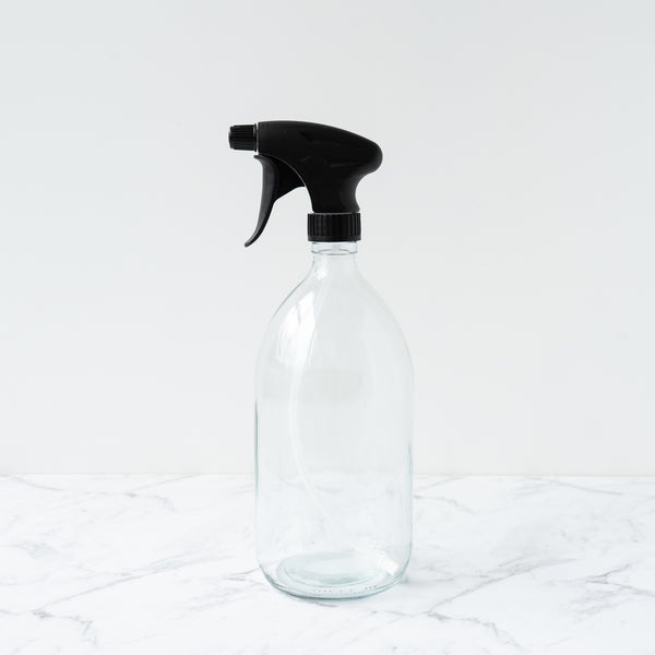 Clear Glass Bottle 1L 1000ml Black Tigger Spray Refill Dispensary New Zealand The Eco Society