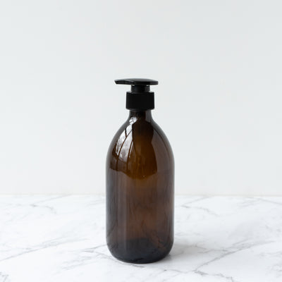 Amber Glass Bottle Pump - 500ml Plain