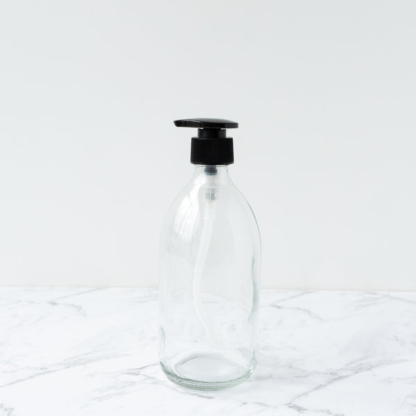 Clear Glass Bottle Black Pump 500ml Refill Dispensary New Zealand The Eco Society