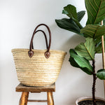 Woven Market Basket with Round Handles Natural