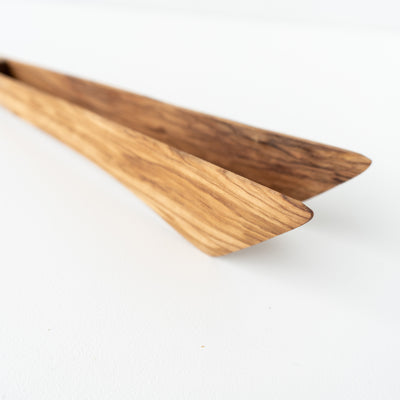 Olive Wood Wide Tongs 30cm