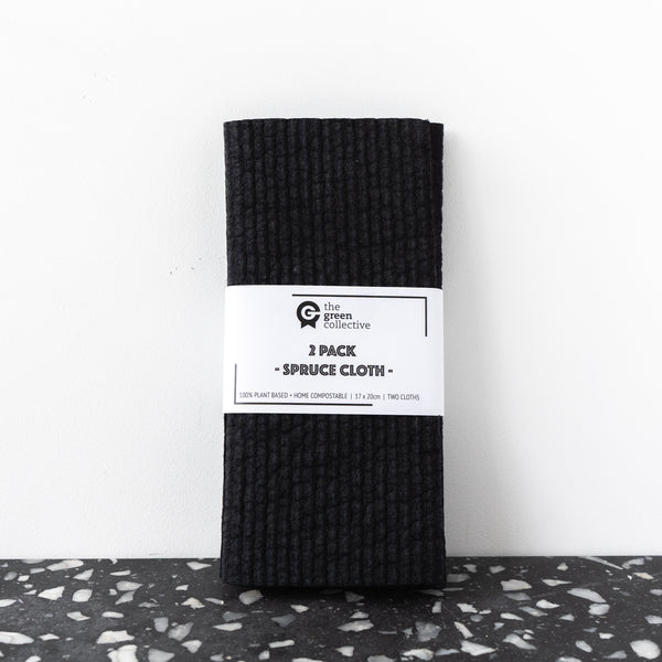 SPRUCE Compostable Dishcloth Black 2pk