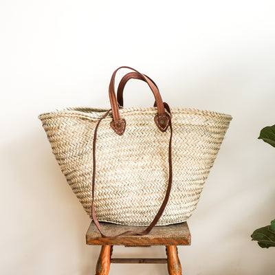 Woven Market Basket with Long & Short Handle