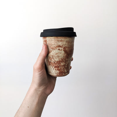 Ceramic Reusable takeaway cup Shino rust