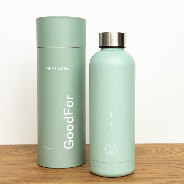 Green Reusable drink bottle NZ GoodFor Store lifetime bottle Zero Waste