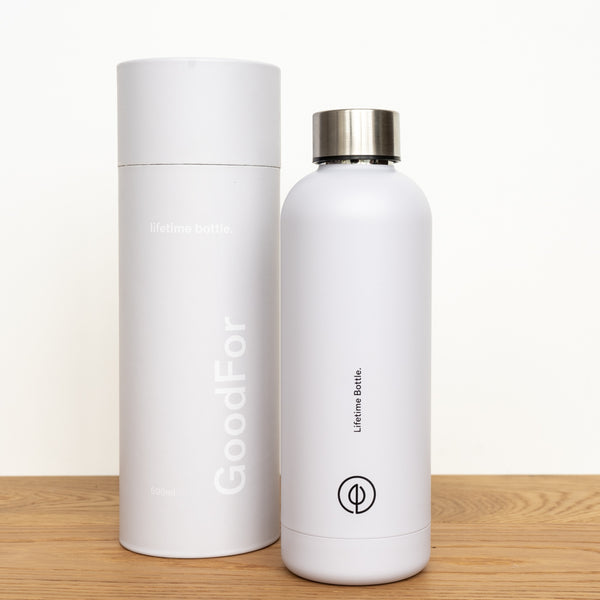 White Reusable drink bottle NZ GoodFor Store lifetime bottle Zero Waste