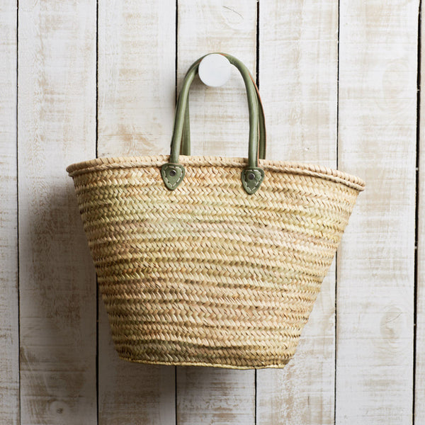 Woven Market Basket with Round Handles Olive