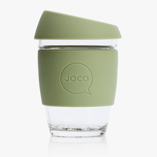 JOCO Glass Reusable Coffee Cup Army Green 12oz