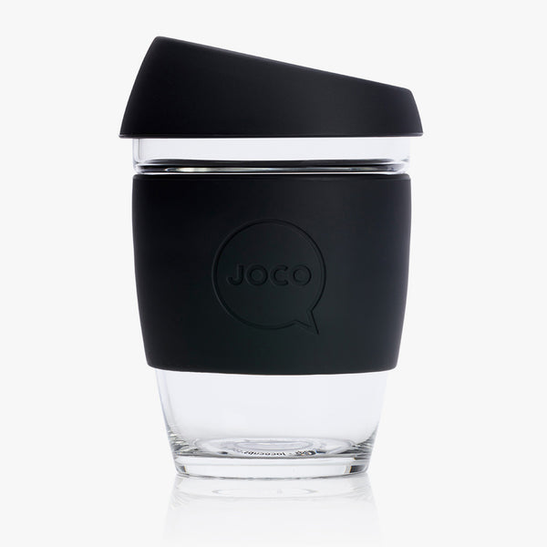 JOCO Glass Reusable Coffee Cup Black 12oz