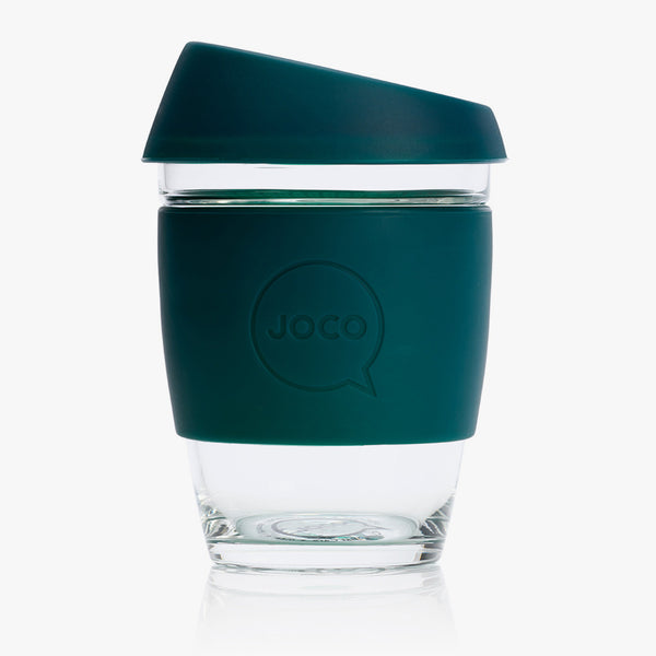 JOCO Glass Reusable Coffee Cup Deep Teal 12oz
