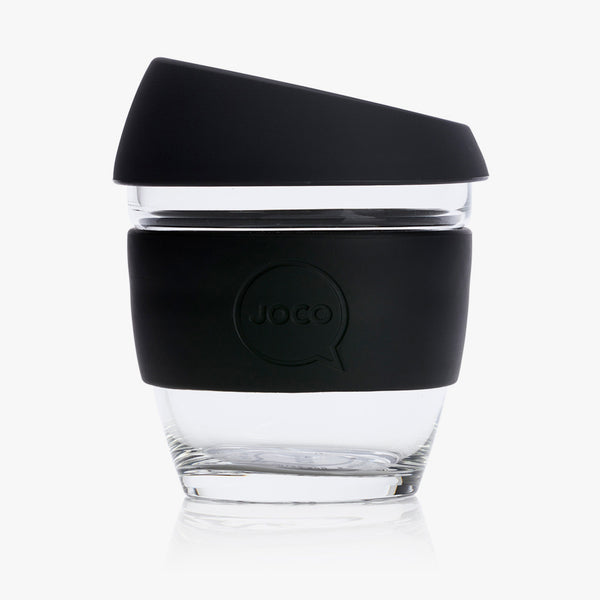 JOCO Glass Reusable Coffee Cup Black 8oz