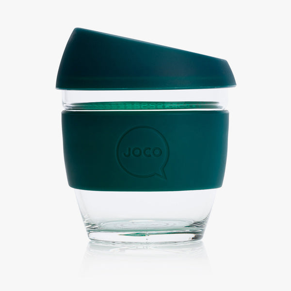 JOCO Glass Reusable Coffee Cup Deep Teal 8oz
