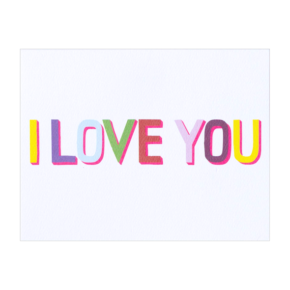 I Love You Multicolor Neon Card by Banquet Workshop