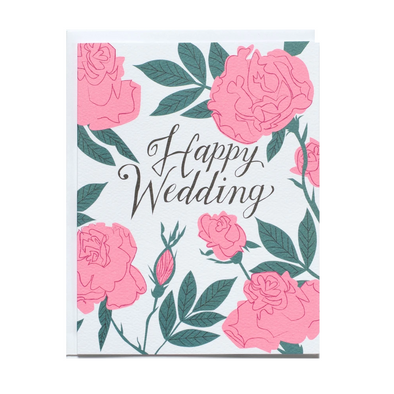 Pastel Neon Roses Wedding Card by Banquet Workshop