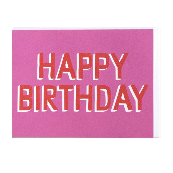 Pink and Red Happy Birthday Card by Banquet Workshop