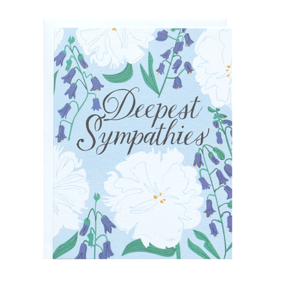 Deepest Sympathy White and Blue Floral Card by Banquet Workshop
