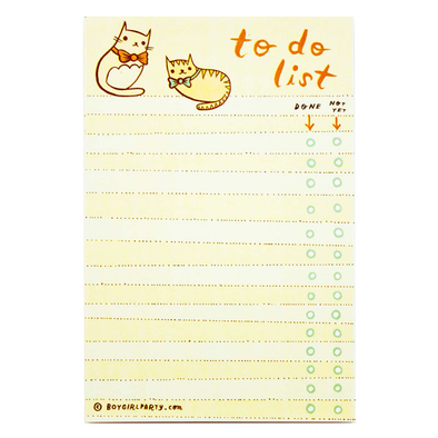 Cat Bowtie To-Do Notepad by Boygirlparty