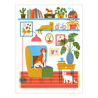 A Dog and Two Cats Screen Print by Boyoun Kim