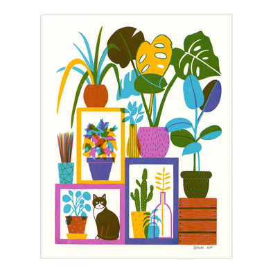 Plants and a Cat Screen Print by Boyoun Kim