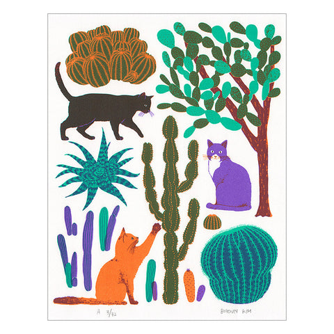 Cats and Cacti Screen Print by Boyoun Kim