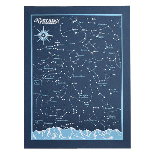 Northern Hemisphere Star Chart Screenprint Rolled by Brainstorm
