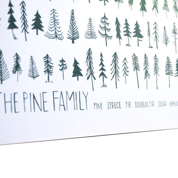 The Pine Family White 18x24 Screenprint by Brainstorm