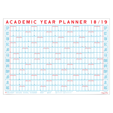 2018-19 Academic Year Planner Wall Calendar by Crispin Finn