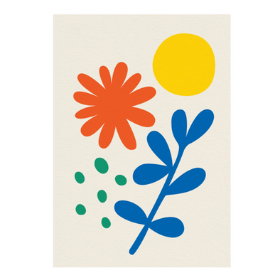 Flower and Sun Card by Graphic Factory