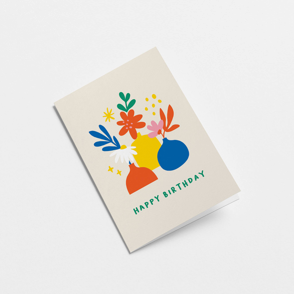 Happy Birthday Flowers Card by Graphic Factory