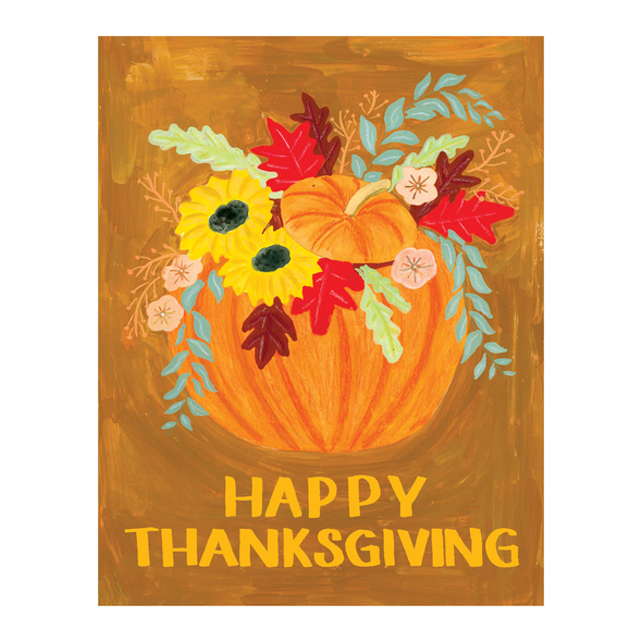 Happy Thanksgiving Pumpkin Bouquet Card by Small Adventure