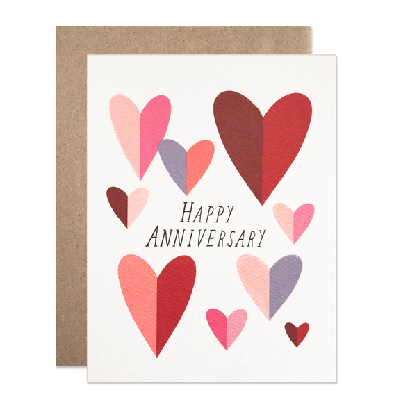 Anniversary Folded Hearts Card by Hartland Brooklyn