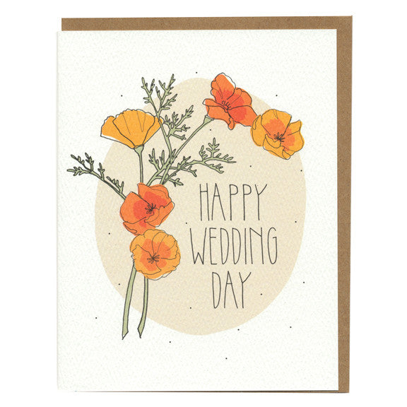 Happy Wedding Day Poppies Card by Hartland Brooklyn