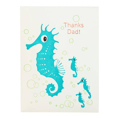 Seahorses Thanks Dad Notecard by Ilee