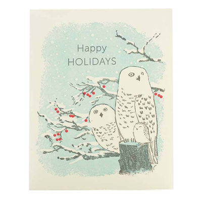 Snowy Owls Holidays Card by Ilee