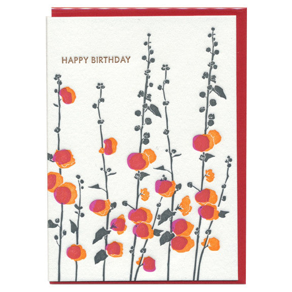 Hollyhock Birthday Card by Ilee