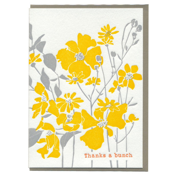 Yellow & Gray Flower Thanks Card by Ilee