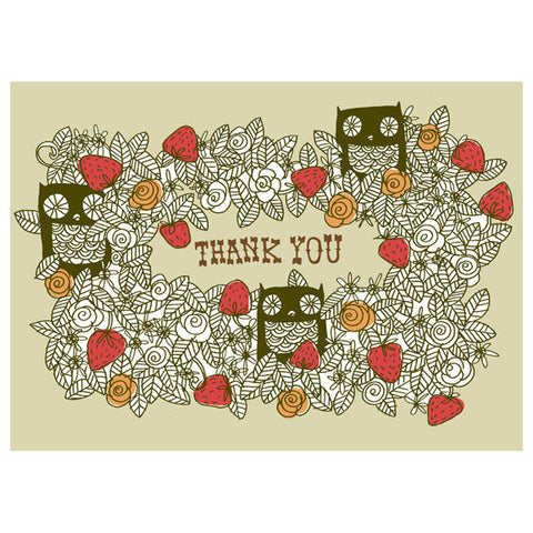 Kate Sutton Owls Thank You Card by Little Otsu