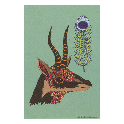 Jo Dery Horns and Feathers Postcard by Little Otsu