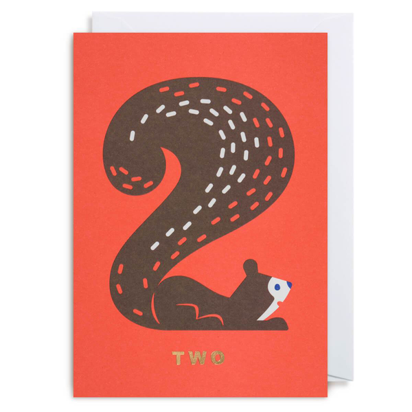 Cozy Tomato Number Two Squirrel Card by Lagom