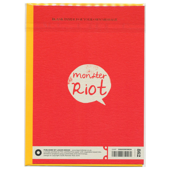 Monster Riot One Man Band Card by Lagom Design