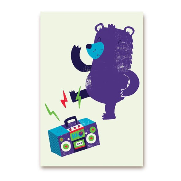 Monster Riot Dancing Bear Postcard by Lagom