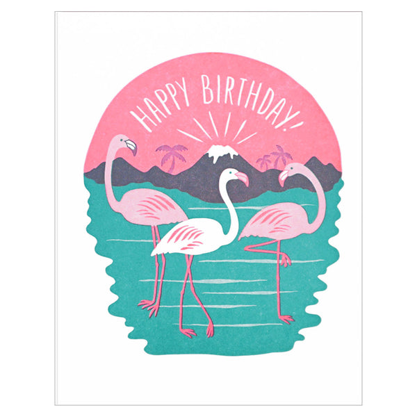 Lucky Horse Press Birthday Flamingos Letterpress Card