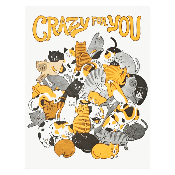 Crazy for You Letterpress Card by Lucky Horse